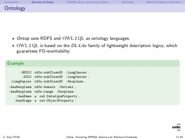 Introduction Overview of Ontop SPARQL Query Answering in Ontop Use Cases Recent Progresses and Future Ontology • Ontop use...