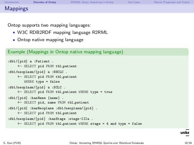 Introduction Overview of Ontop SPARQL Query Answering in Ontop Use Cases Recent Progresses and Future Mappings Ontop suppo...