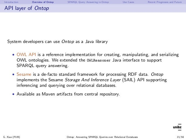 Introduction Overview of Ontop SPARQL Query Answering in Ontop Use Cases Recent Progresses and Future API layer of Ontop S...