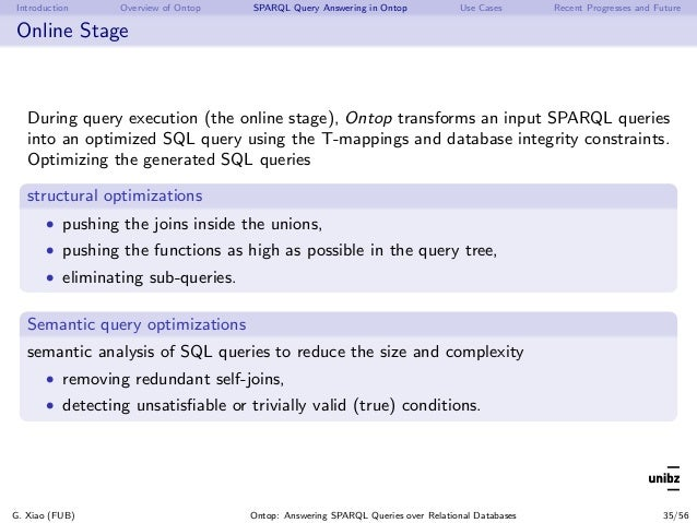 Introduction Overview of Ontop SPARQL Query Answering in Ontop Use Cases Recent Progresses and Future Online Stage During ...