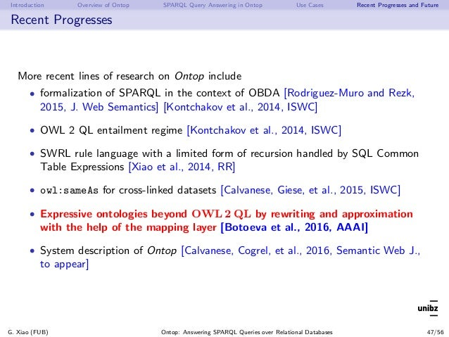 Introduction Overview of Ontop SPARQL Query Answering in Ontop Use Cases Recent Progresses and Future Recent Progresses Mo...