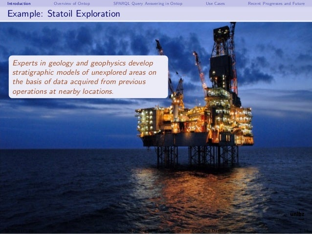 Introduction Overview of Ontop SPARQL Query Answering in Ontop Use Cases Recent Progresses and Future Example: Statoil Exp...