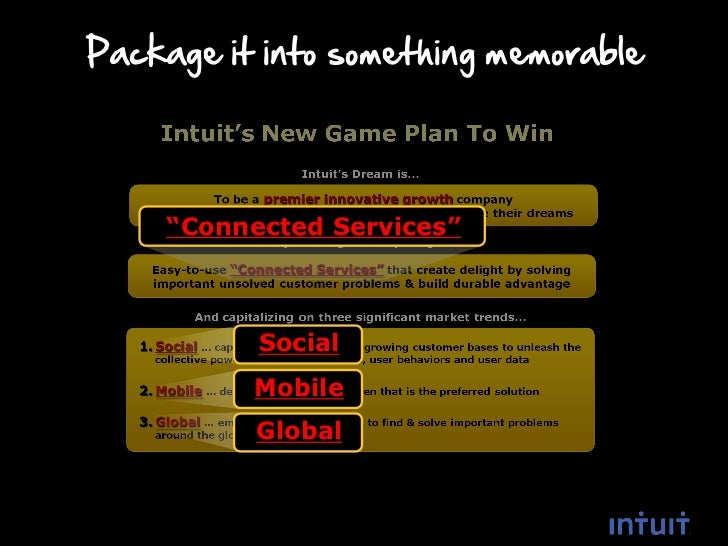 """Package it into something memorable    """"Connected Services""""          Social          Mobile          Global"""