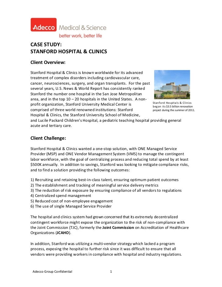 CASESTUDY:STANFORDHOSPITAL&CLINICSClientOverview:StanfordHo...