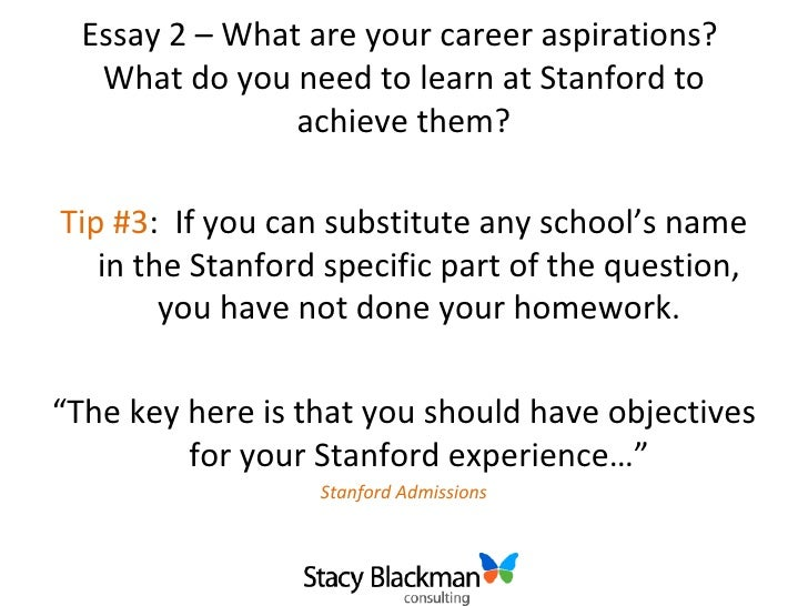 stanford essay question The stanford graduate school of business (gsb) has revealed its essay questions for the coming admissions season applicants are required to respond to two essay questions.
