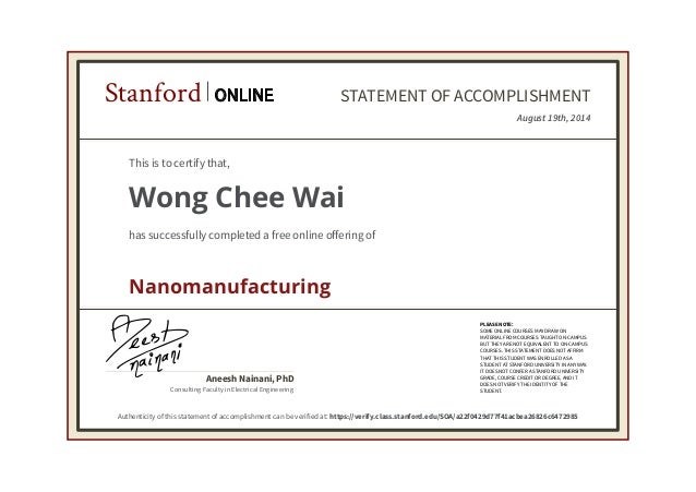 Stanford Online Course Transcript