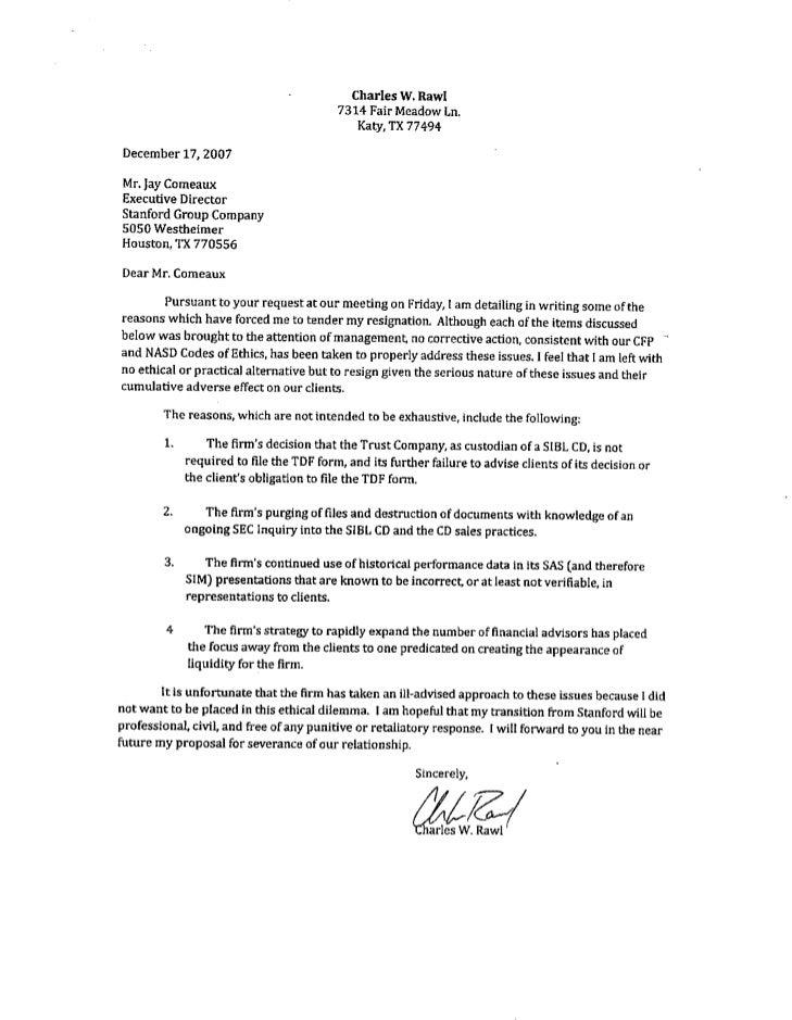 Stanford Resignation Letter