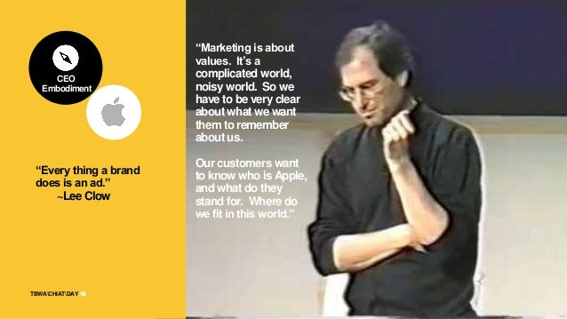 """19TBWACHIATDAY 19 """"Every thing a brand does is an ad."""" ~Lee Clow """"Marketing is about values. It's a complicated world, noi..."""
