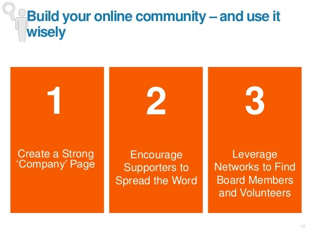 """18 1 Create a Strong """"Company"""" Page 3 Leverage Networks to Find Board Members and Volunteers Build your online community –..."""