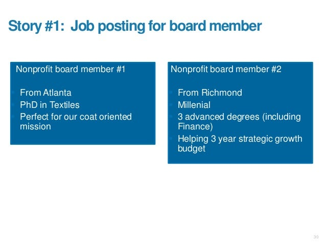 Story #1: Job posting for board member Nonprofit board member #1  From Atlanta  PhD in Textiles  Perfect for our coat o...