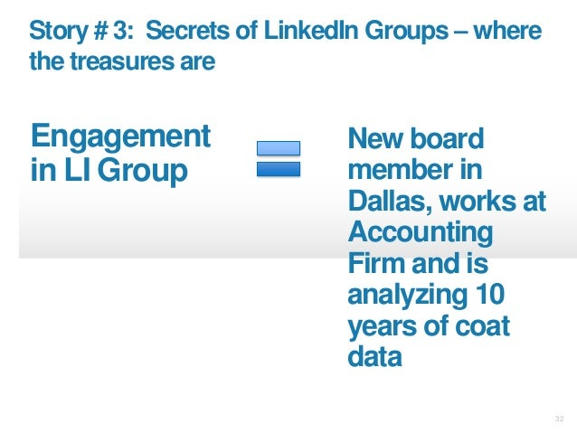 32 Story # 3: Secrets of LinkedIn Groups – where the treasures are Engagement in LI Group New board member in Dallas, work...