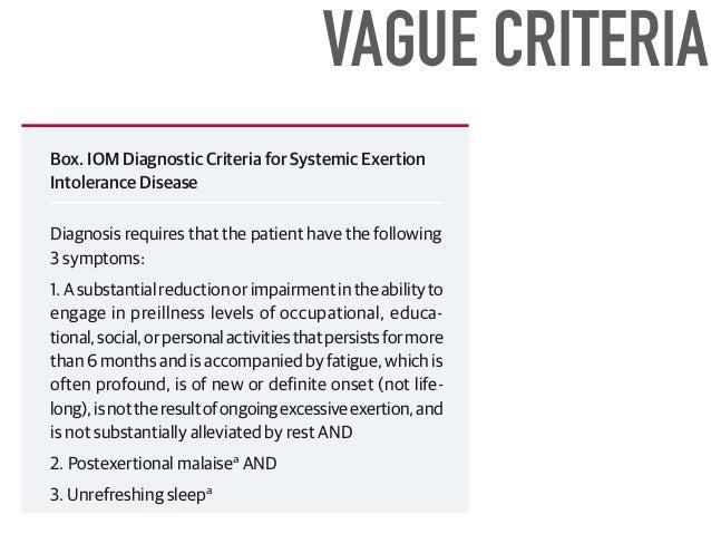 Institute of Medicine report highlights some types of impairment in Myalgic  Encephalomyelitis/Chronic Fatigue Syndrome