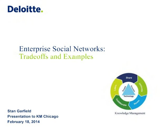 Deloitte  Enterprise Social Networks: radeoffs and Examples  Stan Garfield Presentation to KM Chicago February 18, 2014  K...