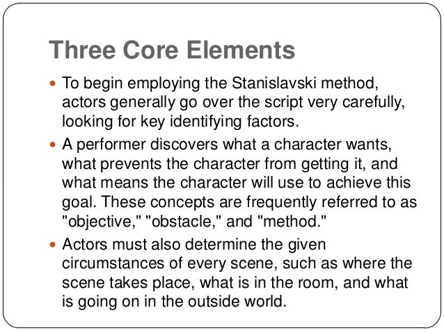 stanislavskis techniques Stanislavski doc: units, objectives, and super-objective (the spine) units, objectives and super-objectives stanislavski's system.