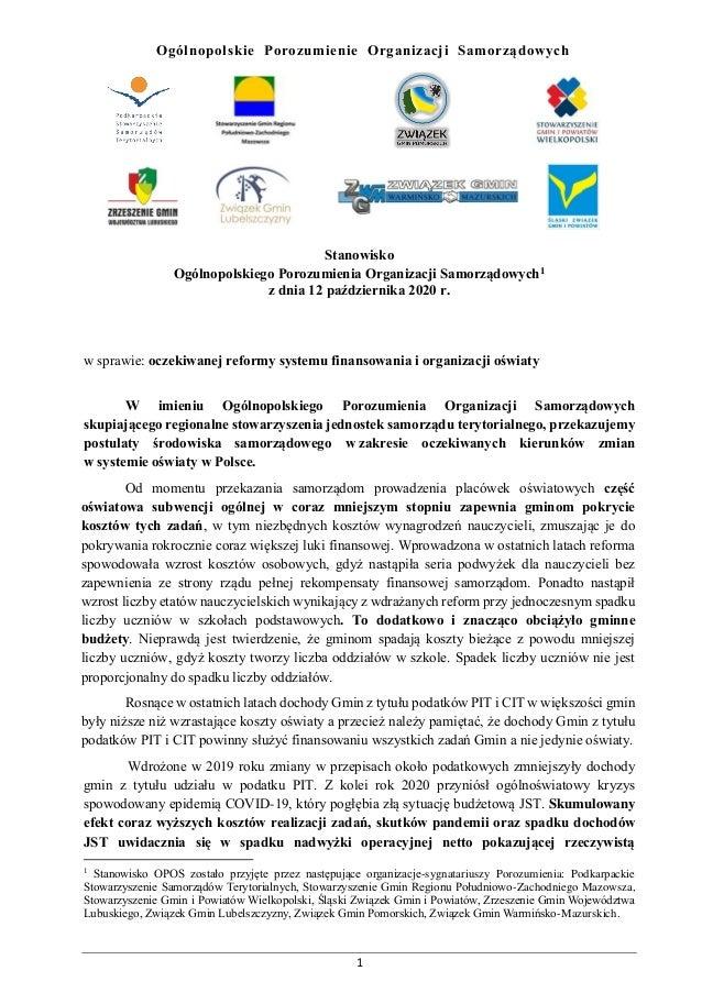 1 Ogólnopolskie Porozumienie Organizacji Samorządowych Stanowisko Ogólnopolskiego Porozumienia Organizacji Samorządowych1 ...