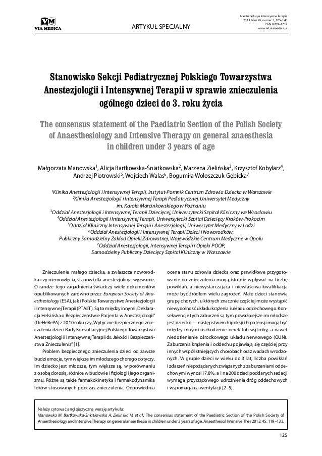 125 ARTYKUŁ SPECJALNY Anestezjologia Intensywna Terapia 2013, tom 45, numer 3, 125–140 ISSN 0209–1712 www.ait.viamedica.pl...
