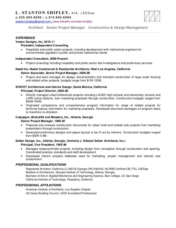 2 - Architectural Project Manager Resume