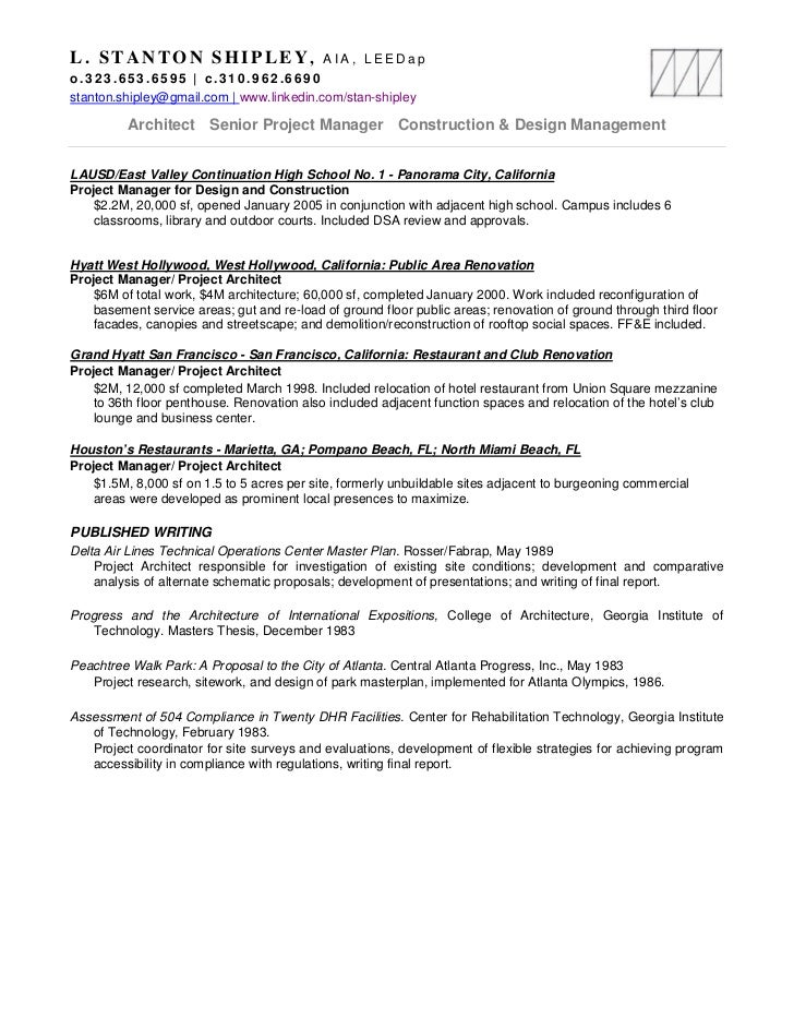 Stan Shipley Resume, Projects 11mr18