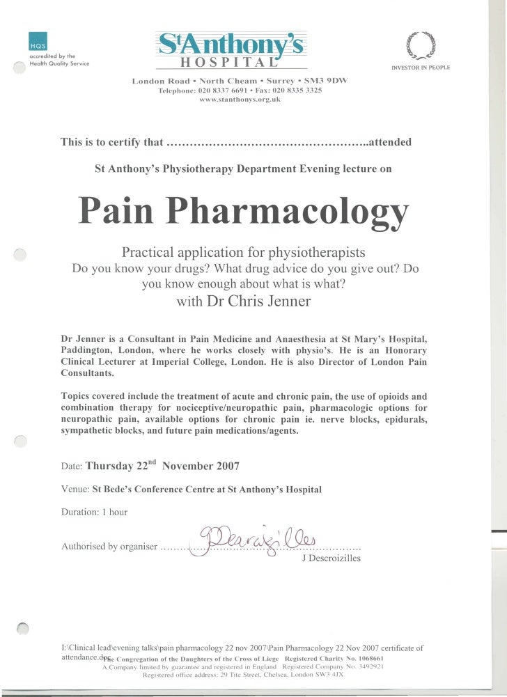 St Anthony's   pain pharmacology