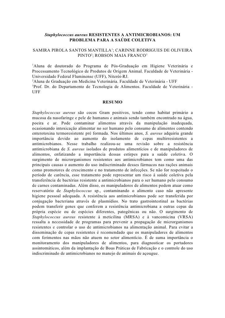 Staphylococcus aureus RESISTENTES A ANTIMICROBIANOS: UM                   PROBLEMA PARA A SAÚDE COLETIVA  SAMIRA PIROLA SA...