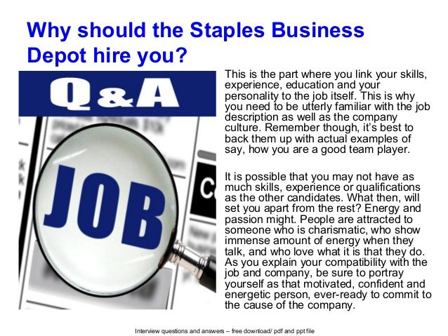 Staples Business Depot Interview Questions And Answers