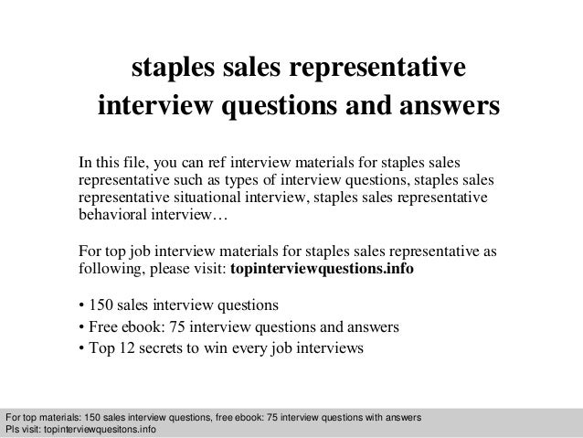interview questions and answers free download pdf and ppt file staples sales representative interview