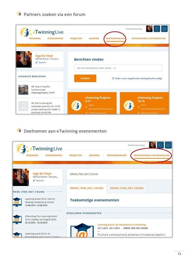 11 Partners zoeken via een forum Deelnemen aan eTwinning evenementen