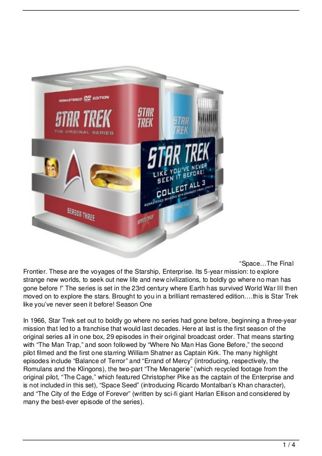 Star Trek The Complete Original Series Dvd Seasons 1 3