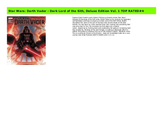 Star Wars Darth Vader Dark Lord Of The Sith Deluxe Edition Vol 1