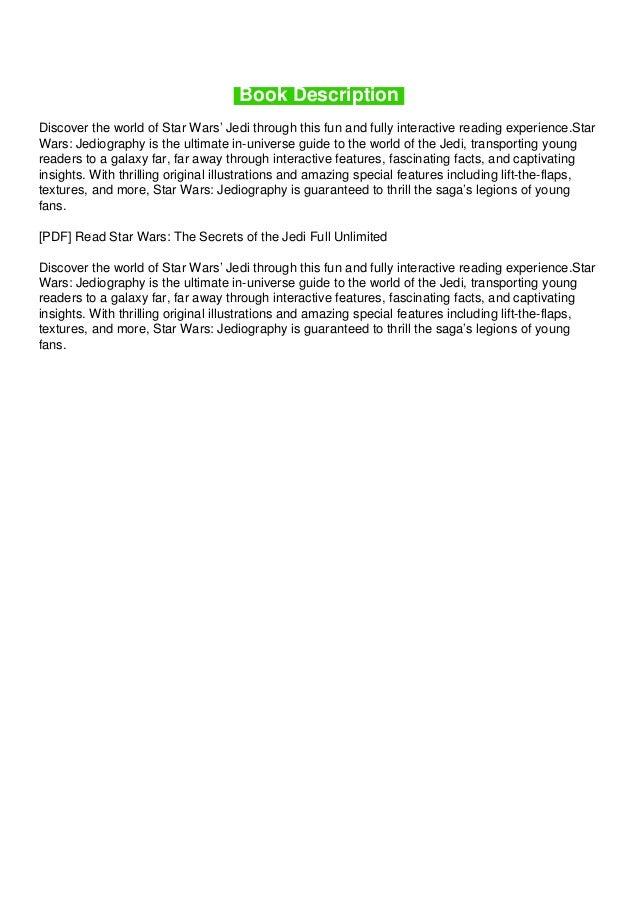 Pdf Read Star Wars The Secrets Of The Jedi Full Unlimited