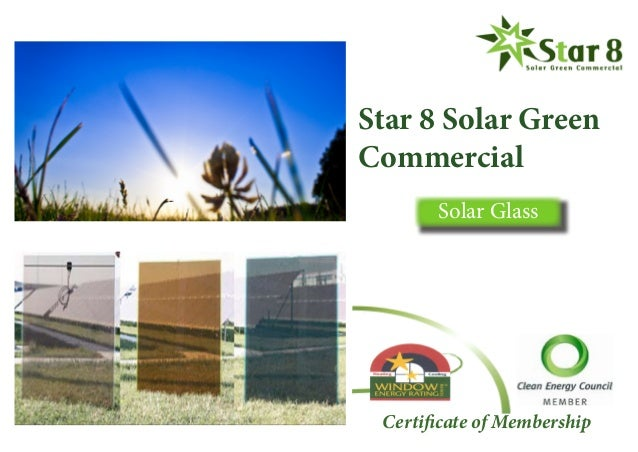 Star 8 Solar Green Commercial Solar Glass Certificate of Membership