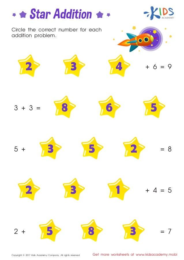 Star Addition Kindergarten Math Worksheets