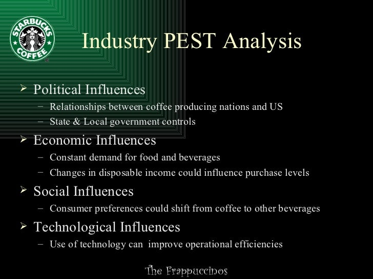 pest analysis for starbucks Introduction to the pest analysis - political, economic, social, and technological factors.