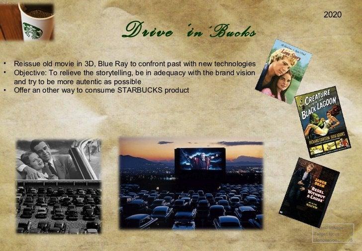 2020 Brand linkage :  /5 Target focus :  /5 Innovation :  /5 Drive  ' i n'Bucks <ul><li>Reissue old movie in 3D, Blue Ray ...