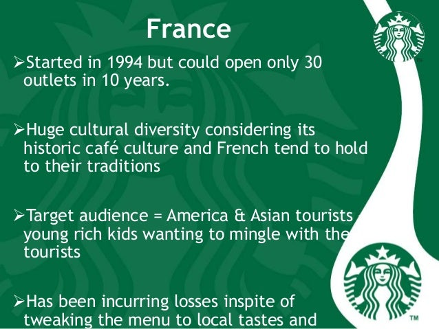 France Started in 1994 but could open only 30 outlets in 10 years. Huge cultural diversity considering its historic café...