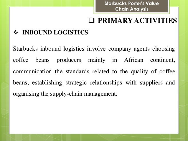 starbucks inbound logistics Inbound logistics operations outbound logistics marketing starbucks customers are not looking for the price of the coffee but seeking for the quality of the.