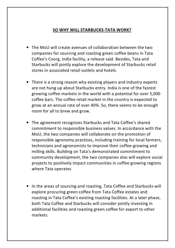 Starbucks India Entry Mode