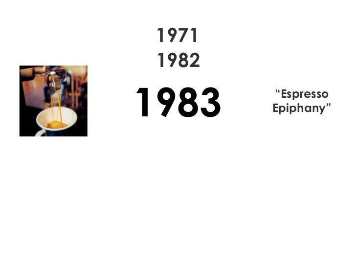 "1971 1982 "" Espresso Epiphany"" 1983"