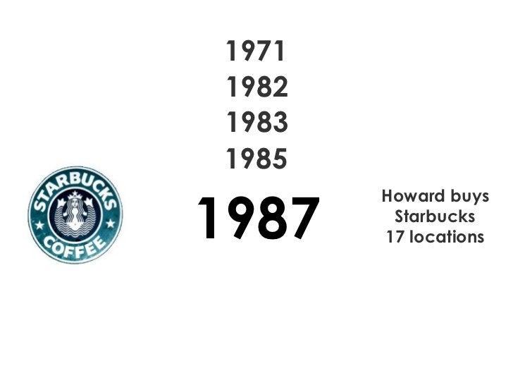 1971 1982 1983 1985 1987 Howard buys Starbucks 17 locations