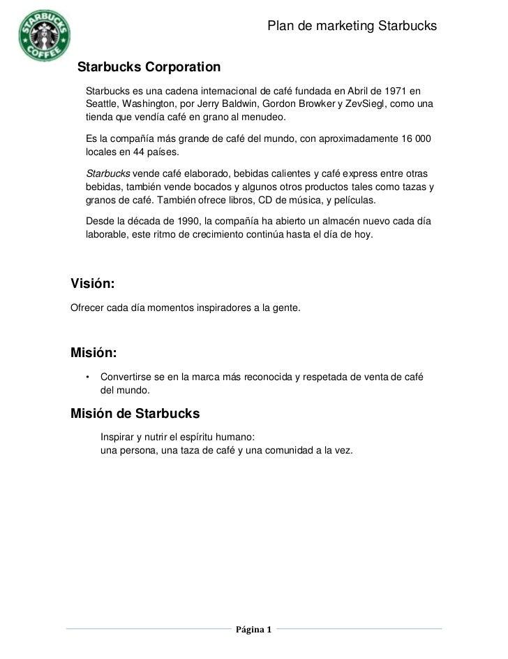 Starbuck's marketing plan