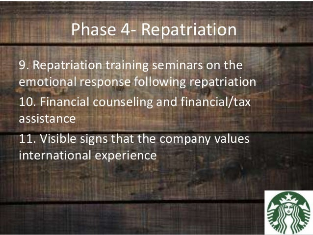 expatriation and repatriation program essay Challenges of expatriation and repartriation  rate 30 413 the presence of repatriation program and the turnover rate 32 414 domestic resignation rate and .