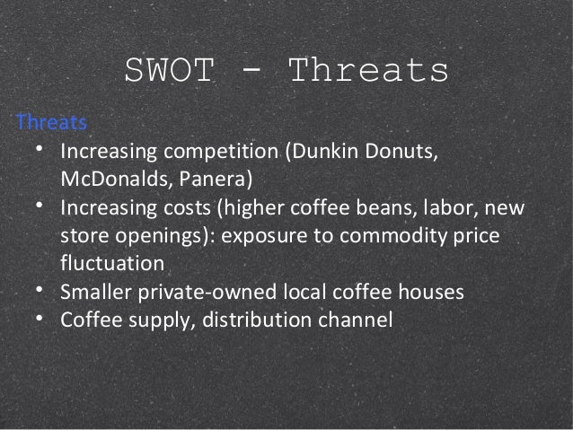 dunking donuts strategic implications As depicted in the chart above, there is a relatively low threat of new entrants into the us coffee and snack shop industry one reason for this low threat level is that existing firms have a cost and performance advantage they are well- established and have already learned how to continually.