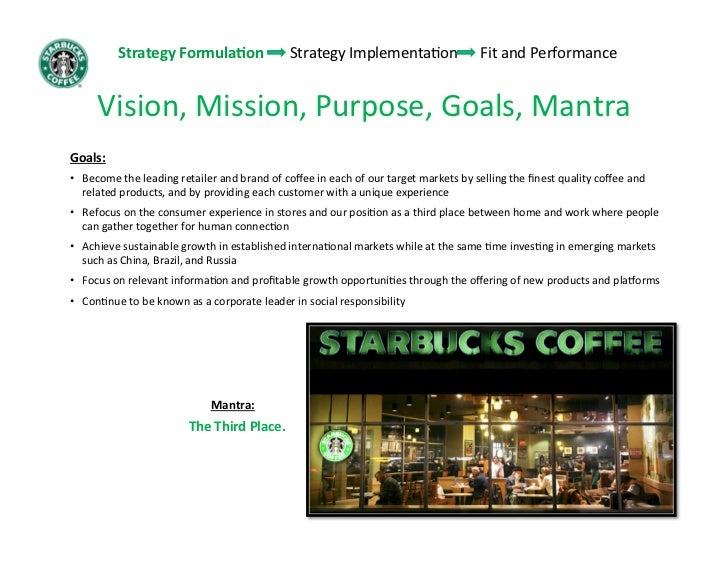 starbucks mission strategic choices Is starbucks' mission (vision, goals, objectives) aligned with its strategies in other words, can starbucks continue its growth as a multi-billion dollar company, and yet maintain its entrepreneurial character.