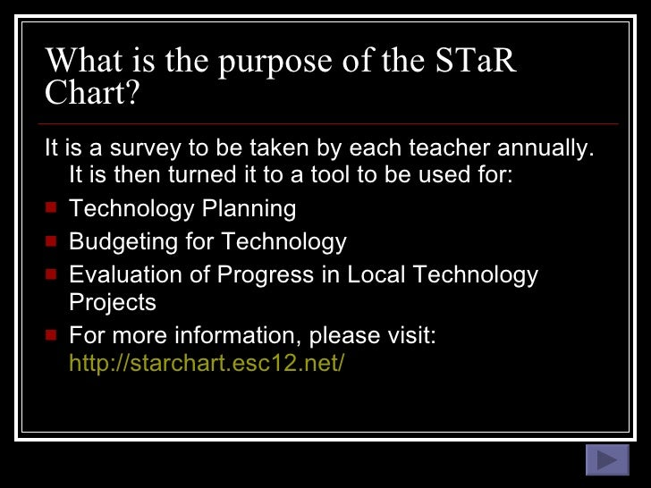 What is the purpose of the STaR Chart? <ul><li>It is a survey to be taken by each teacher annually.  It is then turned it ...