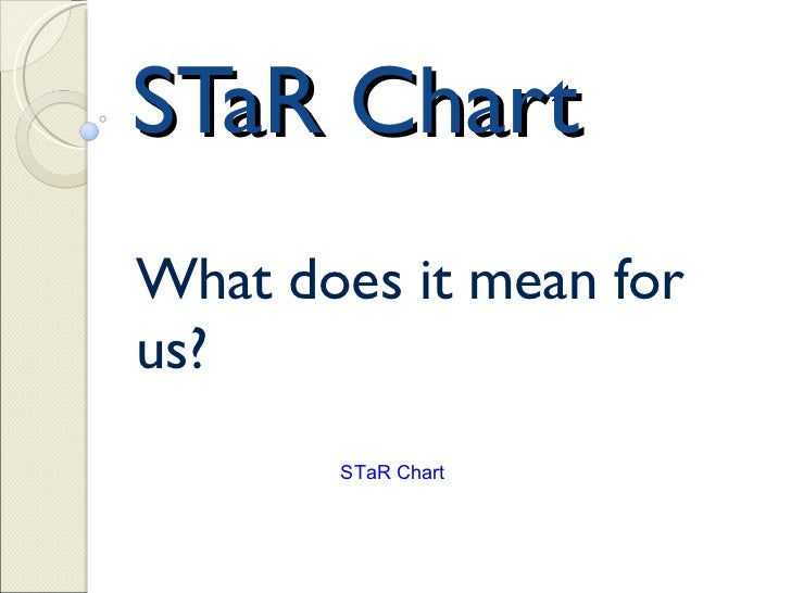 STaR Chart What does it mean for us?  STaR Chart