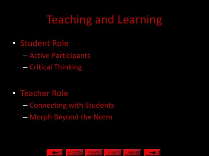 Teaching and Learning • Student Role   – Active Participants   – Critical Thinking   • Teacher Role   – Connecting with St...