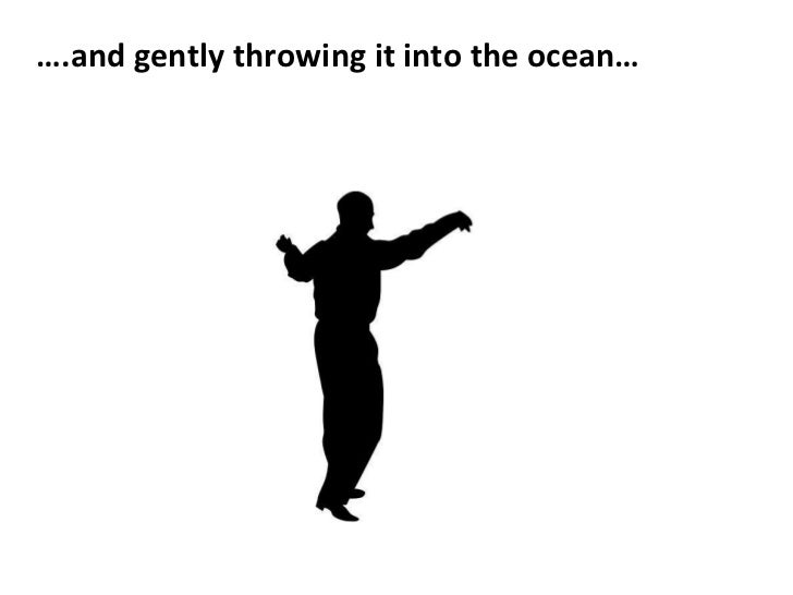 <ul><li>… .and gently throwing it into the ocean… </li></ul>