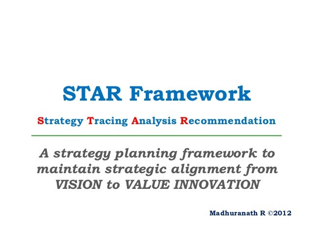 STAR FrameworkStrategy Tracing Analysis RecommendationA strategy planning framework tomaintain strategic alignment from  V...