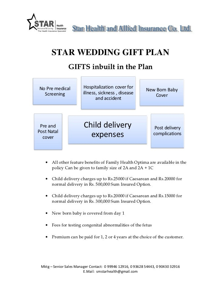 STAR WEDDING GIFT PLAN                GIFTS inbuilt in the PlanNo Pre medical           Hospitalization cover for         ...