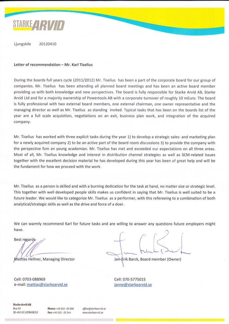 Starke Arvid AB_Letter of Recommendation